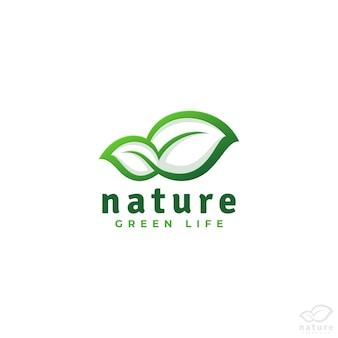 Logotipo da natureza com estilo de folha de linha