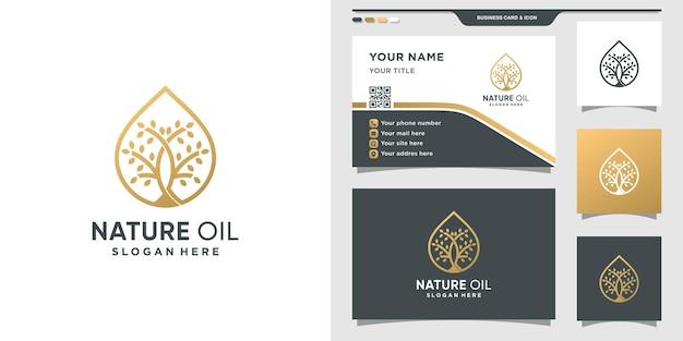 Logotipo da natureza combinado com gotas de óleo e design de cartão de visita