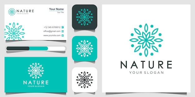 Logotipo da natureza da flor e cartão de visita
