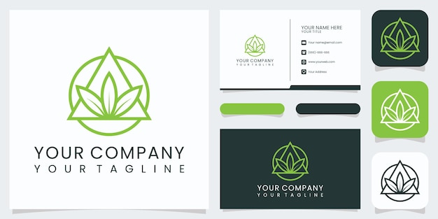 Logotipo da natureza elegante minimalista e cartão de visita premium vector