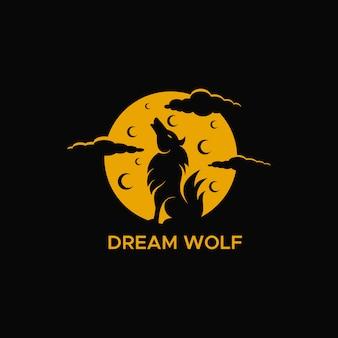Logotipo da noite da lua do lobo do sonho