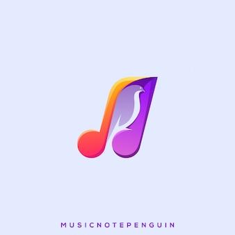 Logotipo da nota da música do pinguim
