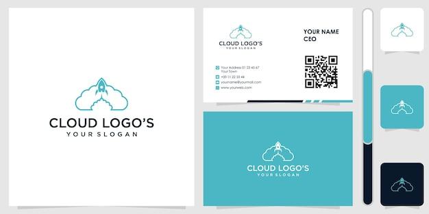 Logotipo da nuvem com vetor premium de design de cartão de visita