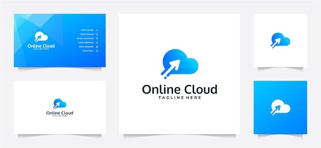 Logotipo da nuvem gradiente e cartão de visita