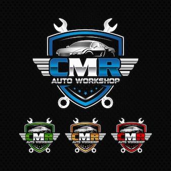 Logotipo da oficina de automóveis cmr logotipo da garagem automotiva premium vector