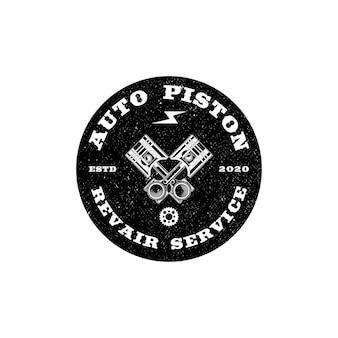 Logotipo da oficina de motocicletas de pistão vintage