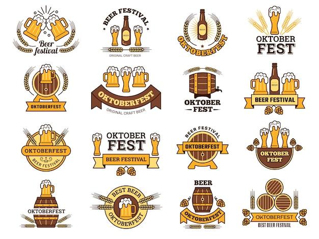 Logotipo da oktoberfest. emblemas tradicionais de festivais de cerveja com fotos de bebidas alcoólicas em pub de cerveja