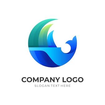 Logotipo da onda de peixe, peixe e onda, logotipo de combinação com estilo de cor azul e verde 3d