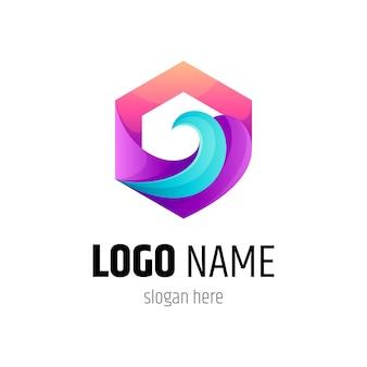 Logotipo da onda em moldura hexagonal