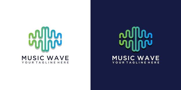 Logotipo da onda musical com design de letra mw