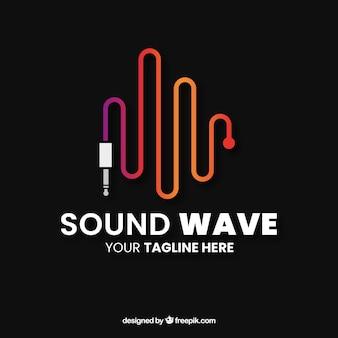 Logotipo da onda sonora com design plano