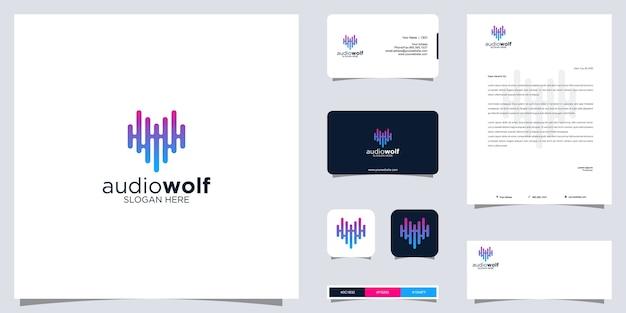 Logotipo da onda sonora e design de identidade da marca