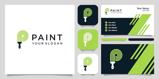 Logotipo da p paint e modelo de cartão de visita