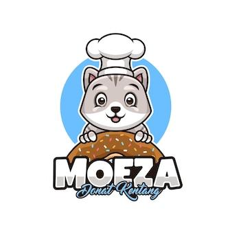 Logotipo da padaria com gato fofo como mascote