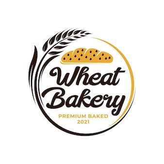 Logotipo da padaria do trigo. logotipo da agricultura de arroz de trigo