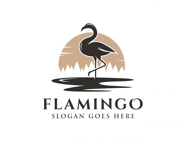Logotipo da paisagem flamingo e lago
