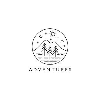 Logotipo da paisagem monoline de aventuras