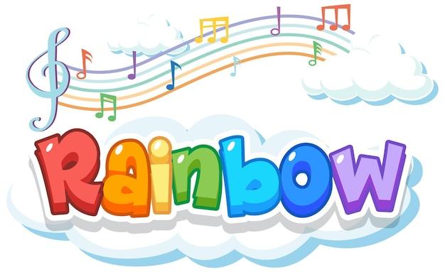 Logotipo da palavra arco-íris na nuvem com símbolos de melodia