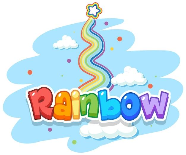 Logotipo da palavra arco-íris no céu