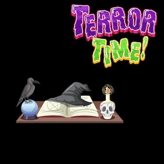 Logotipo da palavra terror time com objetos de bruxa