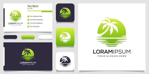 Logotipo da palmeira com tema de praia e cartão de visita.