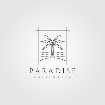 Logotipo da palmeira da ilha de arte em linha