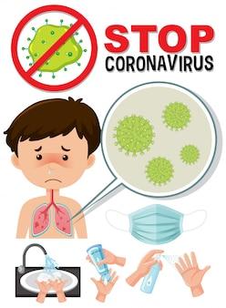 Logotipo da parada do coronavírus com caronavírus infeccionado em menino