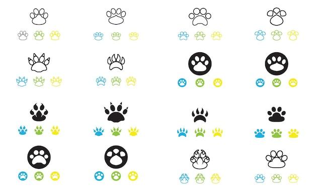 Logotipo da pegada do cachorro e vetor do símbolo