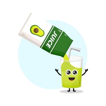 Logotipo da personagem fofa da caixa de suco de abacate