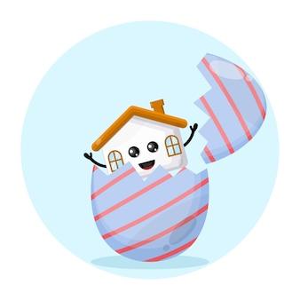 Logotipo da personagem fofa da casa ovo de páscoa
