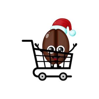 Logotipo da personagem fofa de compras de grãos de café de natal