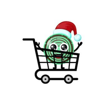 Logotipo da personagem fofa de compras de natal