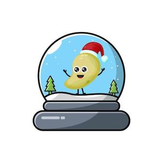 Logotipo da personagem fofa de manga cúpula de natal