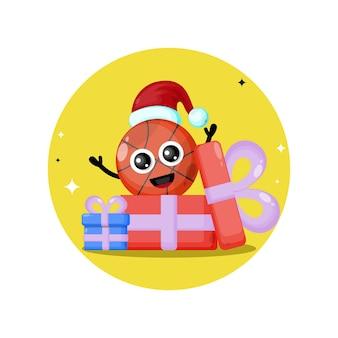 Logotipo da personagem fofa de natal para presente de basquete