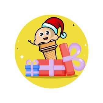Logotipo da personagem fofa de sorvete de presente de natal
