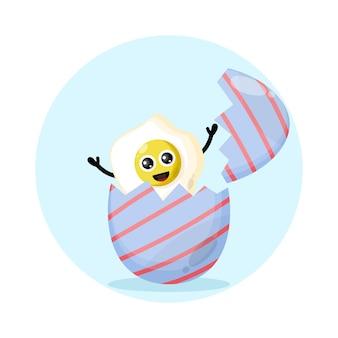 Logotipo da personagem fofa do café da manhã com ovo de páscoa