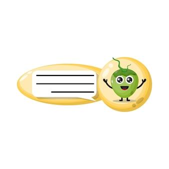 Logotipo da personagem fofa do coconut chat