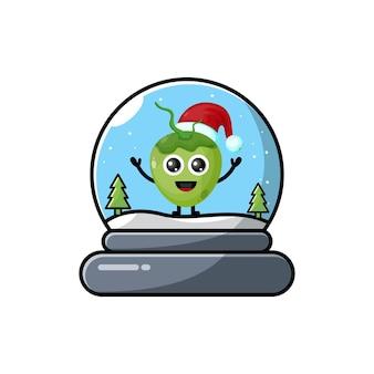 Logotipo da personagem fofa do coconut dome christmas