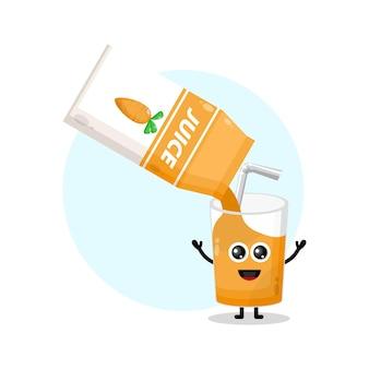 Logotipo da personagem fofa do copo de suco de cenoura
