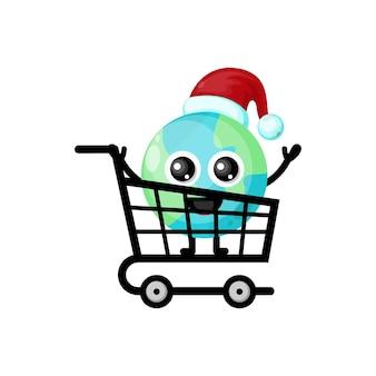 Logotipo da personagem fofa do earth shopping para o natal