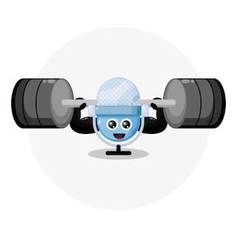 Logotipo da personagem fofa do microfone fitness