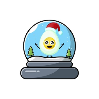 Logotipo da personagem fofa do ovo da cúpula de natal