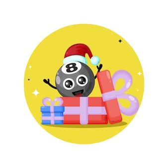 Logotipo da personagem fofa do presente de natal da bola de bilhar