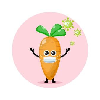 Logotipo da personagem fofa do vírus da máscara de cenoura