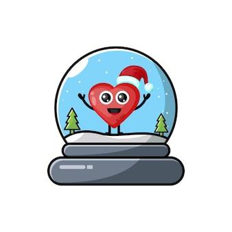 Logotipo da personagem fofa love dome christmas