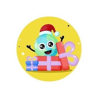 Logotipo da personagem fofa presente de natal da terra