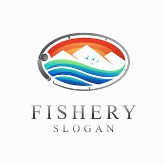Logotipo da pesca com conceito de lago