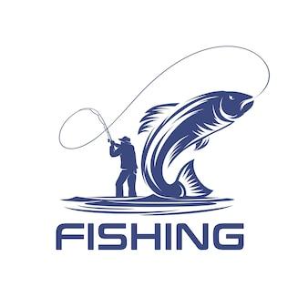 Logotipo da pesca com ilustração de peixes