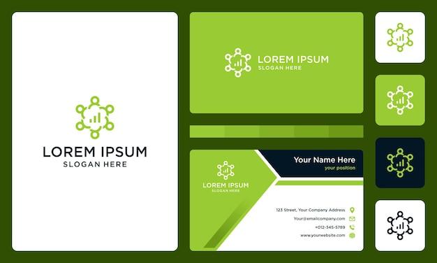 Logotipo da pessoa ou equipe com barra de investimento. cartão de visitas.