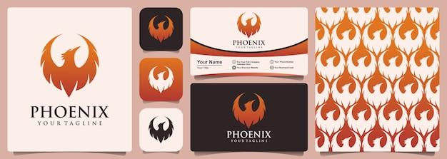 Logotipo da phoenix com conjunto de padrão e design de cartão de visita